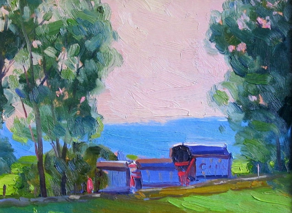 Farm Wagons, a painting by Judith Reeve