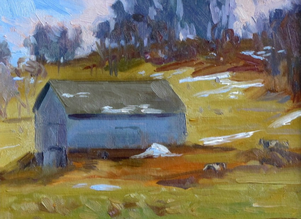 Heifer Barn, a painting by Judith Reeve