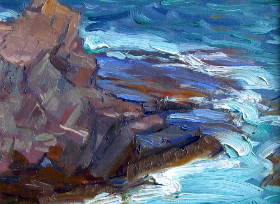Jutting Rock and Surf, a painting by Judith Reeve