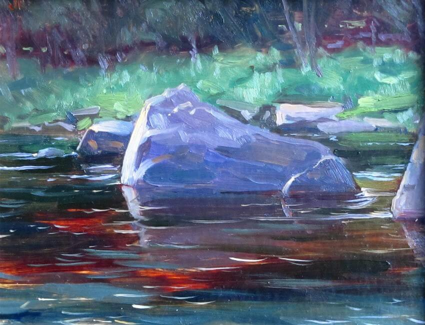 Rock and Reflections, a painting by Judith Reeve