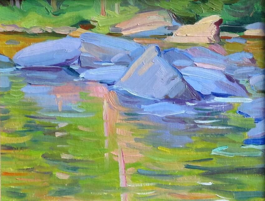 Rocks in Shadow, a painting by Judith Reeve