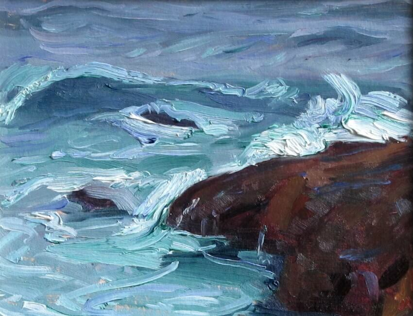 Surf and Rock, a painting by Judith Reeve