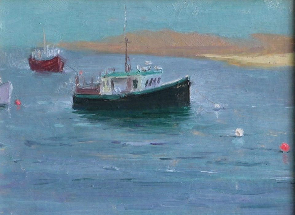 Fishing Boats, Harbor Fog, a painting by Judith Reeve